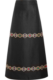 Embroidered quilted jacquard maxi skirt