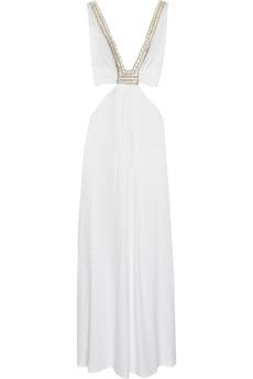 La PerlaRanja embellished satin maxi dress