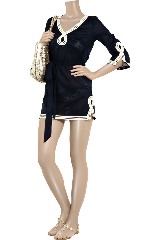 Milly Chain-print bandeau bikini top