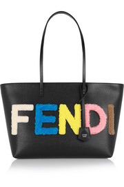 Roll & Shopping small shearling-appliquéd textured-leather tote