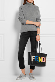 Fendi Roll & Shopping small shearling-appliquéd textured-leather tote