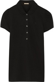 Cotton-blend piqu� polo shirt