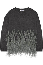 Feather-trimmed cotton-blend sweater