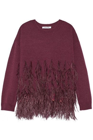 Elizabeth and James - Feather-trimmed Cotton-blend Sweater - Burgundy