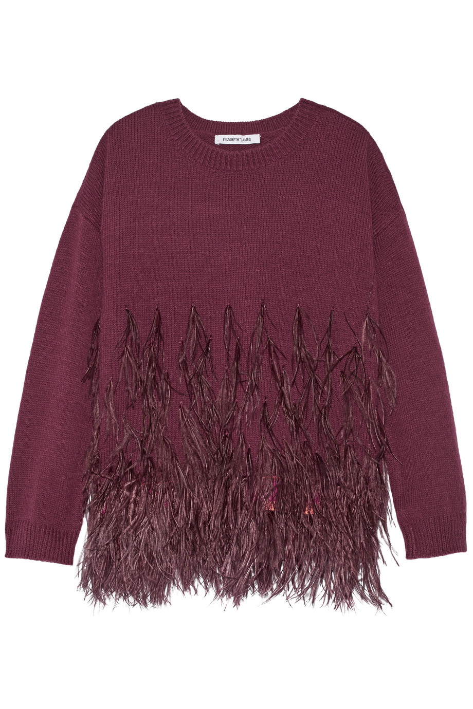 Elizabeth and James Feather-Trimmed Cotton-Blend Sweater, Burgundy, Women's, Size: L