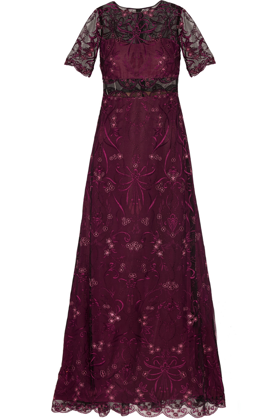 Marchesa Notte Embroidered Tulle and Chiffon Gown, Plum, Women's - Embroidered, Size: 6