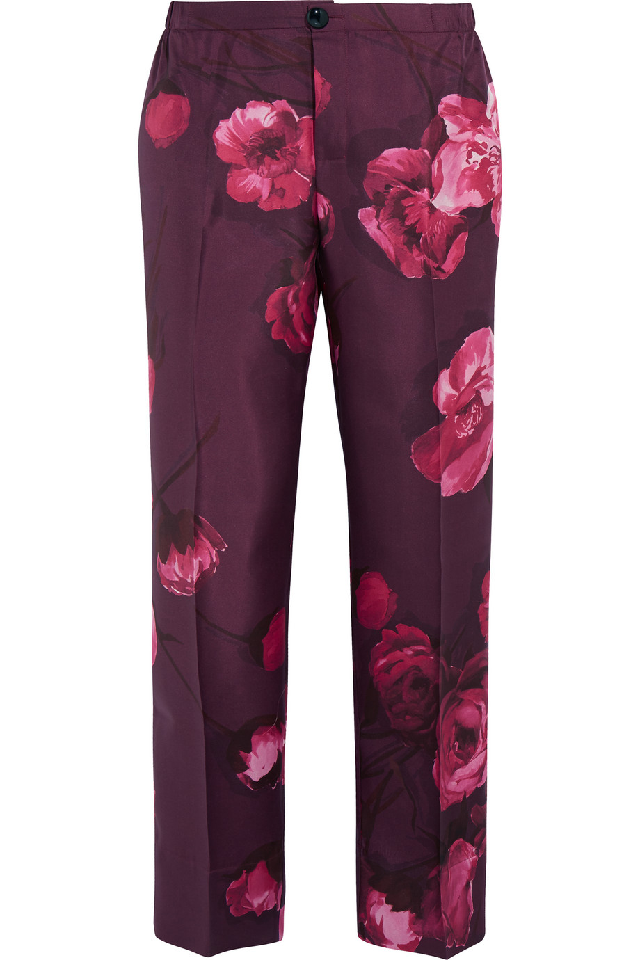 Floral-Print Silk-Twill Pants, Plum, Women's