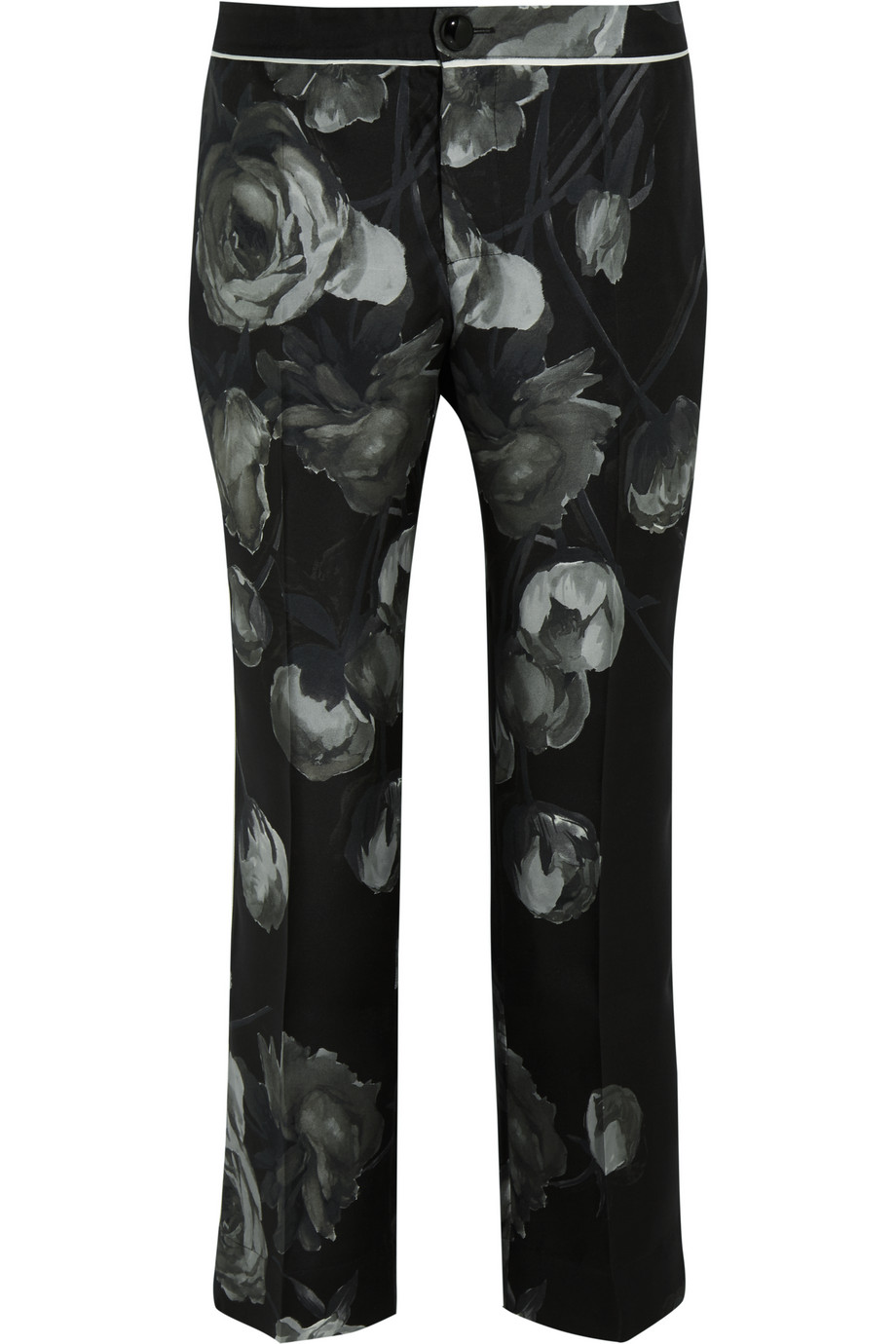 Hypnos Printed Silk-Twill Wide-Leg Pants, Black, Women's