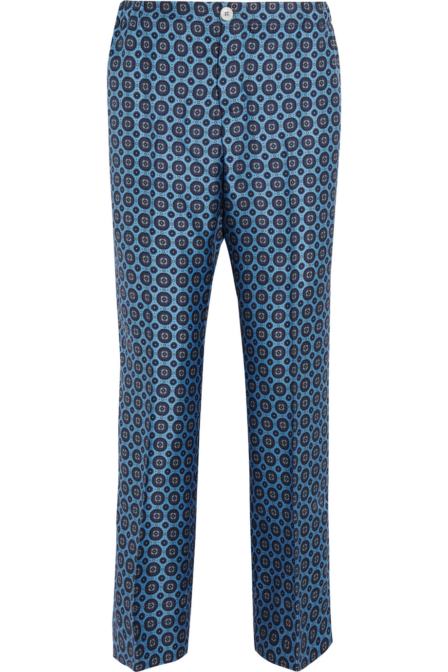Zeus Printed Silk-Twill Wide-Leg Pants, Navy, Women's