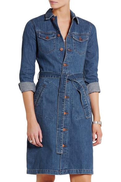 madewell belted denim shirt dress