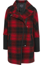 City Grid plaid wool-blend coat