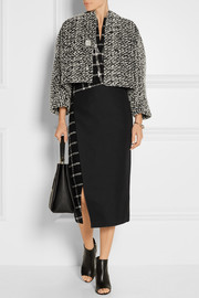 Cropped embellished wool-blend tweed jacket