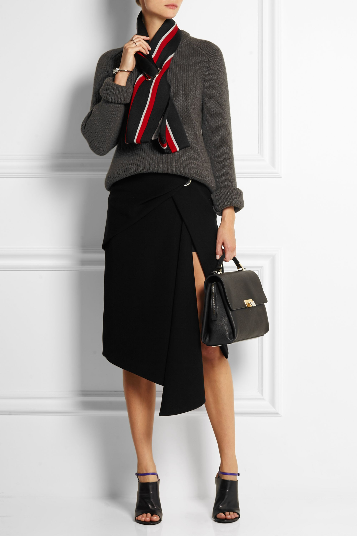 Balenciaga Wrap-effect draped crepe skirt