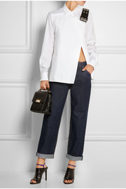 Leather-trimmed cotton-poplin shirt