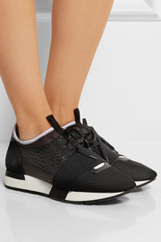Suede and leather-paneled mesh and neoprene sneakers