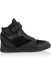 Paneled velvet, textured-leather and neoprene high-top sneakers