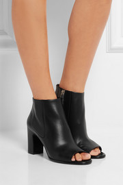Leather open-toe ankle boots