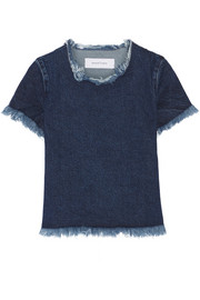 Frayed denim top