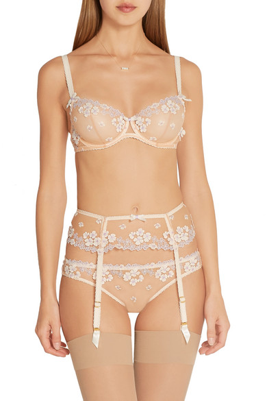 Agent Provocateur. Bethanie appliquéd tulle underwired bra f0a04ac4e