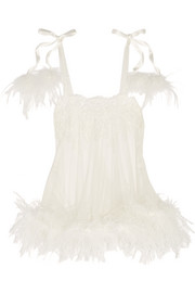 Kalotta feather-trimmed Leavers lace and tulle chemise