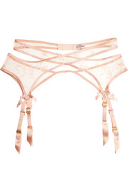 Cate embroidered tulle suspender belt