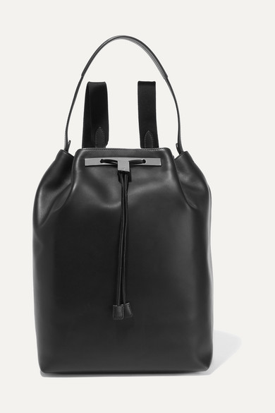 the row female the row leather backpack black