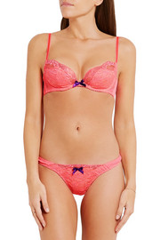 Pammie Leavers lace-trimmed satin and stretch-tulle plunge bra