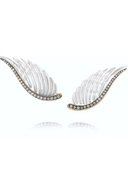 Noor Fares Wing 18-karat gray gold, mother-of-pearl and diamond earrings