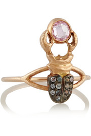 Khepri 18-karat rose gold, garnet and sapphire phalanx ring