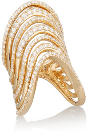 Crest Tip 14-karat gold diamond phalanx ring