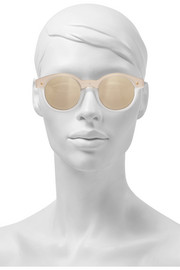 Chateau acetate round-frame mirrored sunglasses