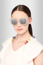 Luxe Queenie cat-eye acetate mirrored sunglasses