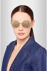 Luxe Jester round-frame gold-tone mirrored sunglasses