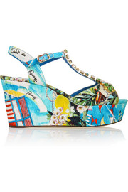 Portofino crystal-embellished printed faille wedge sandals