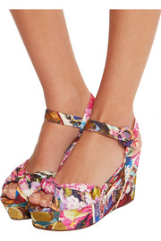 Portofino printed faille wedge sandals