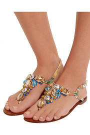 Dolce & Gabbana Portofino embellished printed patent-leather sandals