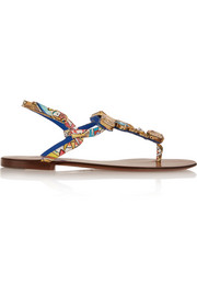 Portofino embellished printed patent-leather sandals