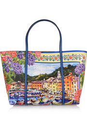 Dolce & Gabbana Escape Portofino printed textured-leather tote