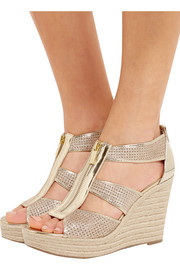 MICHAEL Michael Kors Damita glittered leather espadrille wedge sandals