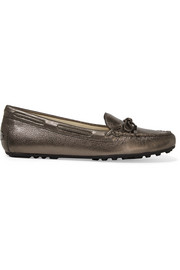 Daisy metallic textured-leather loafers