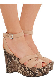 Megan suede and snake-effect leather wedge sandals