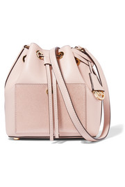 MICHAEL Michael Kors Greenwich small metallic-paneled textured-leather bucket bag