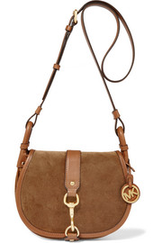 MICHAEL Michael Kors Jamie leather-trimmed suede shoulder bag