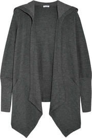 Stretch cotton and modal-blend hooded cardigan