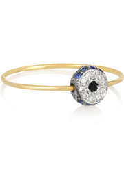 Leda 18-karat gold, diamond and sapphire ring