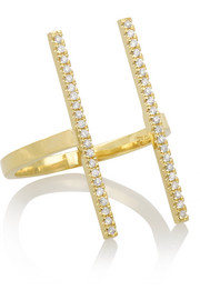 Double Bar 18-karat gold diamond ring