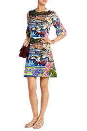 Portofino printed brocade mini dress