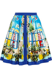 Dolce & Gabbana Portofino printed cotton-poplin mini skirt