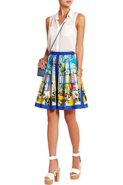 Portofino printed cotton-poplin mini skirt