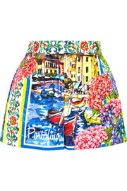 Portofino printed brocade shorts
